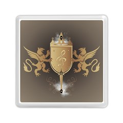 Music, Clef On A Shield With Liions And Water Splash Memory Card Reader (Square)