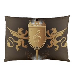 Music, Clef On A Shield With Liions And Water Splash Pillow Cases (Two Sides)