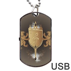 Music, Clef On A Shield With Liions And Water Splash Dog Tag USB Flash (One Side)