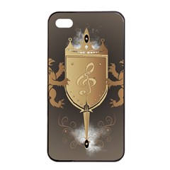 Music, Clef On A Shield With Liions And Water Splash Apple Iphone 4/4s Seamless Case (black)
