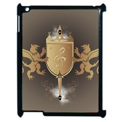 Music, Clef On A Shield With Liions And Water Splash Apple iPad 2 Case (Black)