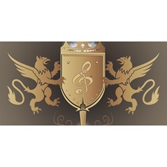 Music, Clef On A Shield With Liions And Water Splash YOU ARE INVITED 3D Greeting Card (8x4)