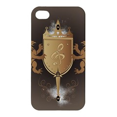 Music, Clef On A Shield With Liions And Water Splash Apple iPhone 4/4S Hardshell Case
