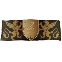 Music, Clef On A Shield With Liions And Water Splash Body Pillow Cases (dakimakura)
