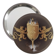 Music, Clef On A Shield With Liions And Water Splash 3  Handbag Mirrors