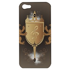 Music, Clef On A Shield With Liions And Water Splash Apple iPhone 5 Hardshell Case
