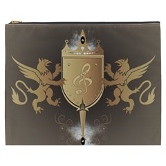 Music, Clef On A Shield With Liions And Water Splash Cosmetic Bag (XXXL)