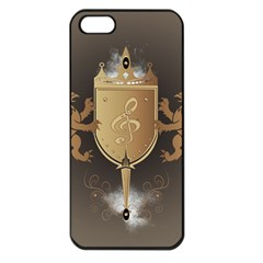 Music, Clef On A Shield With Liions And Water Splash Apple iPhone 5 Seamless Case (Black)