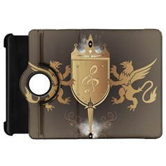 Music, Clef On A Shield With Liions And Water Splash Kindle Fire HD Flip 360 Case