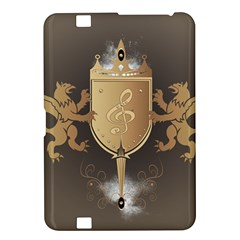 Music, Clef On A Shield With Liions And Water Splash Kindle Fire HD 8.9