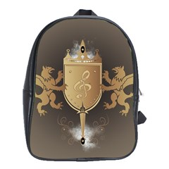 Music, Clef On A Shield With Liions And Water Splash School Bags (XL)