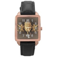 Music, Clef On A Shield With Liions And Water Splash Rose Gold Watches