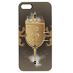 Music, Clef On A Shield With Liions And Water Splash Apple iPhone 5 Hardshell Case with Stand