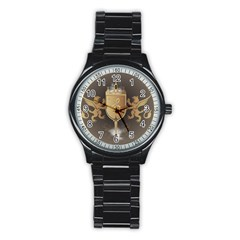Music, Clef On A Shield With Liions And Water Splash Stainless Steel Round Watches