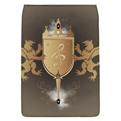 Music, Clef On A Shield With Liions And Water Splash Flap Covers (S)