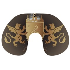 Music, Clef On A Shield With Liions And Water Splash Travel Neck Pillows