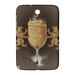 Music, Clef On A Shield With Liions And Water Splash Samsung Galaxy Note 8 0 N5100 Hardshell Case