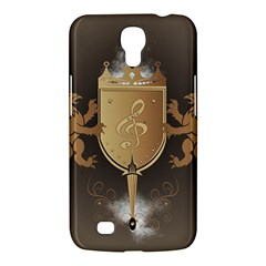 Music, Clef On A Shield With Liions And Water Splash Samsung Galaxy Mega 6.3  I9200 Hardshell Case
