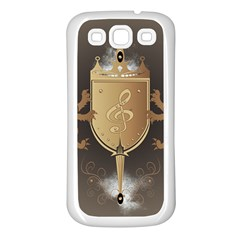 Music, Clef On A Shield With Liions And Water Splash Samsung Galaxy S3 Back Case (White)