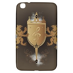 Music, Clef On A Shield With Liions And Water Splash Samsung Galaxy Tab 3 (8 ) T3100 Hardshell Case
