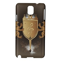 Music, Clef On A Shield With Liions And Water Splash Samsung Galaxy Note 3 N9005 Hardshell Case