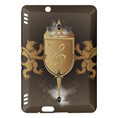 Music, Clef On A Shield With Liions And Water Splash Kindle Fire Hdx Hardshell Case