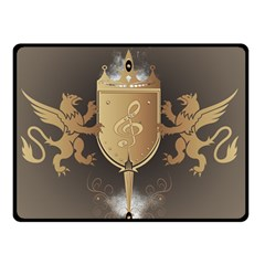 Music, Clef On A Shield With Liions And Water Splash Double Sided Fleece Blanket (small)