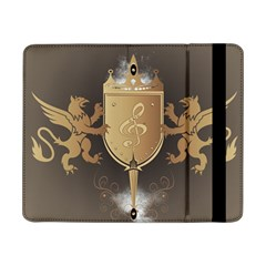 Music, Clef On A Shield With Liions And Water Splash Samsung Galaxy Tab Pro 8 4  Flip Case