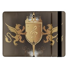 Music, Clef On A Shield With Liions And Water Splash Samsung Galaxy Tab Pro 12.2  Flip Case