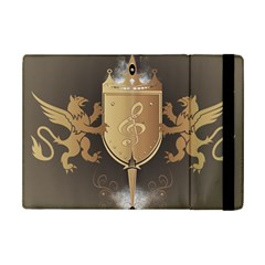 Music, Clef On A Shield With Liions And Water Splash Ipad Mini 2 Flip Cases