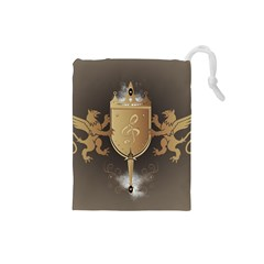 Music, Clef On A Shield With Liions And Water Splash Drawstring Pouches (Small)