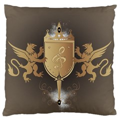 Music, Clef On A Shield With Liions And Water Splash Large Flano Cushion Cases (one Side)