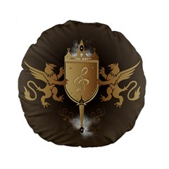 Music, Clef On A Shield With Liions And Water Splash Standard 15  Premium Flano Round Cushions