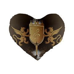 Music, Clef On A Shield With Liions And Water Splash Standard 16  Premium Flano Heart Shape Cushions