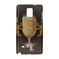 Music, Clef On A Shield With Liions And Water Splash Samsung Galaxy Note 4 Hardshell Case