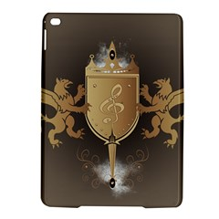 Music, Clef On A Shield With Liions And Water Splash iPad Air 2 Hardshell Cases