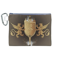 Music, Clef On A Shield With Liions And Water Splash Canvas Cosmetic Bag (XL)