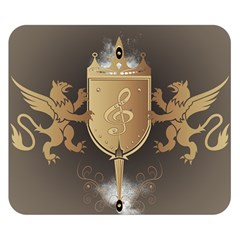 Music, Clef On A Shield With Liions And Water Splash Double Sided Flano Blanket (Small)