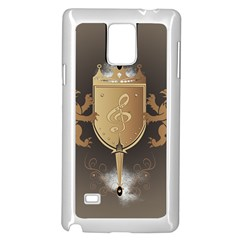 Music, Clef On A Shield With Liions And Water Splash Samsung Galaxy Note 4 Case (White)