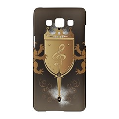 Music, Clef On A Shield With Liions And Water Splash Samsung Galaxy A5 Hardshell Case