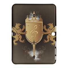 Music, Clef On A Shield With Liions And Water Splash Samsung Galaxy Tab 4 (10.1 ) Hardshell Case