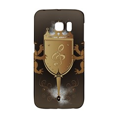 Music, Clef On A Shield With Liions And Water Splash Galaxy S6 Edge