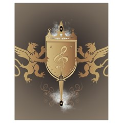 Music, Clef On A Shield With Liions And Water Splash Drawstring Bag (Small)