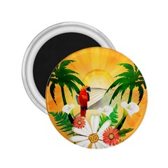 Cute Parrot With Flowers And Palm 2 25  Magnets