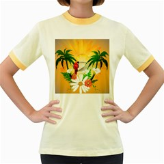 Cute Parrot With Flowers And Palm Women s Fitted Ringer T Shirts