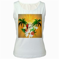 Cute Parrot With Flowers And Palm Women s Tank Tops