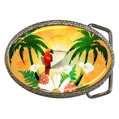 Cute Parrot With Flowers And Palm Belt Buckles
