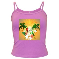 Cute Parrot With Flowers And Palm Dark Spaghetti Tanks