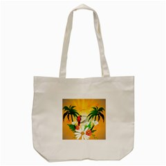 Cute Parrot With Flowers And Palm Tote Bag (Cream)