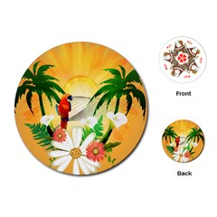 Cute Parrot With Flowers And Palm Playing Cards (Round)
